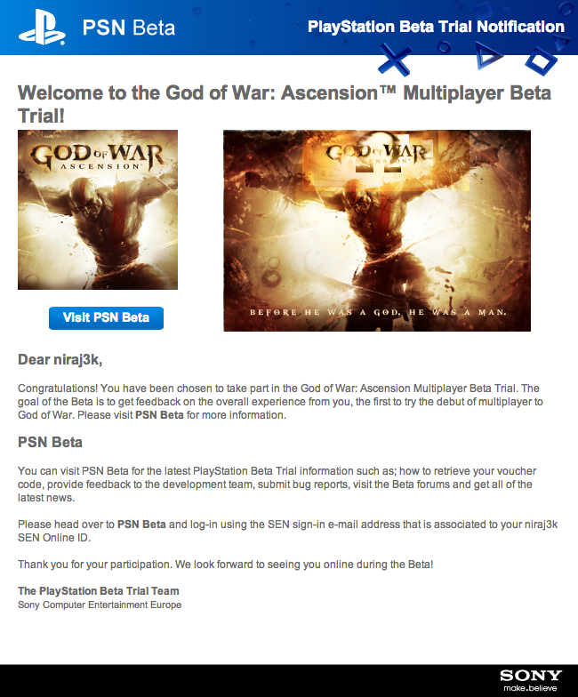 God of War Beta Invite
