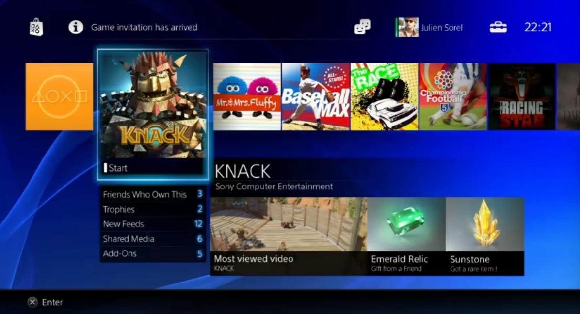 PS4 UI