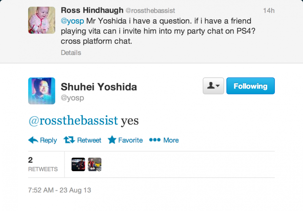 PS4 Party Chat Tweet
