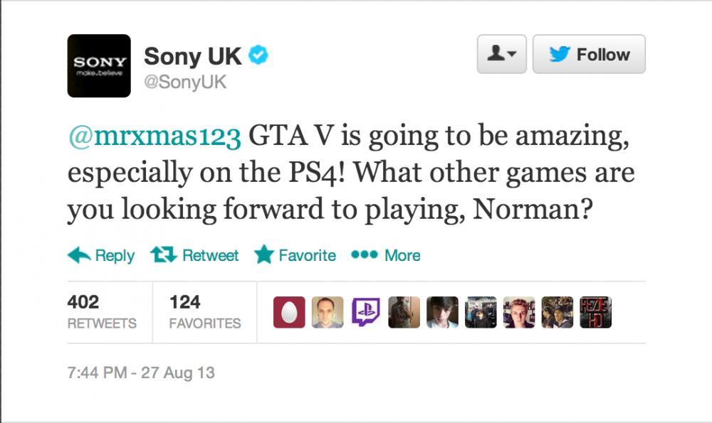 GTA V for PS4 Tweet