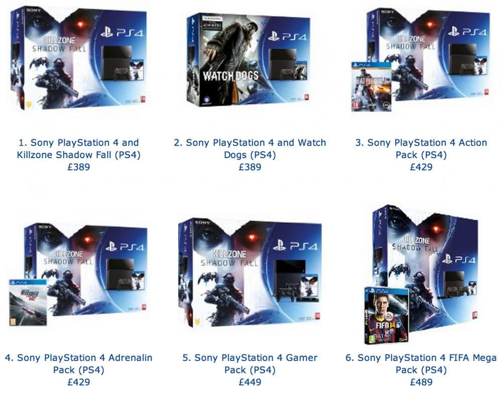 Amazon UK PS4 Bundles
