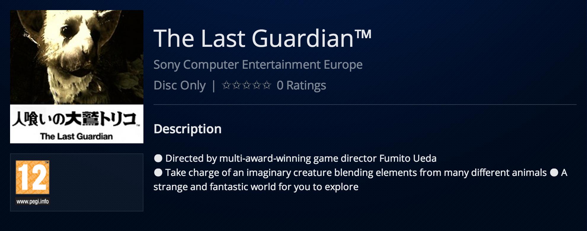 The Last Guardian PSN Listing