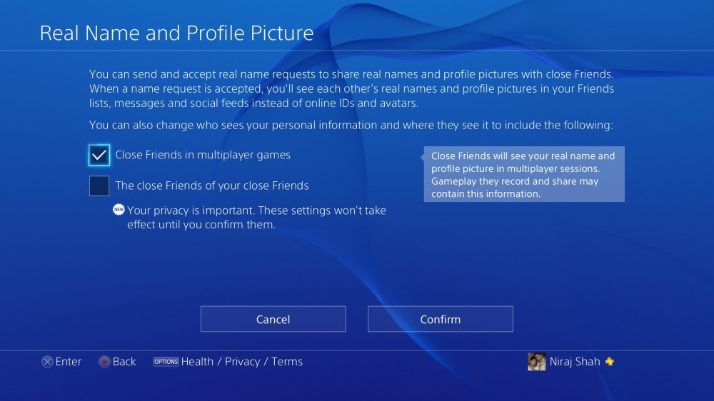 PS4 Firmware v1.70 - Real Name Privacy