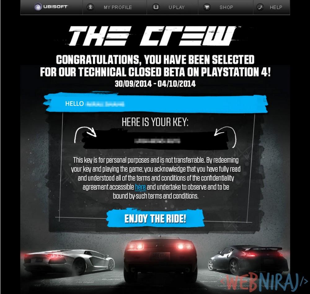 The Crew Closed Beta Invite